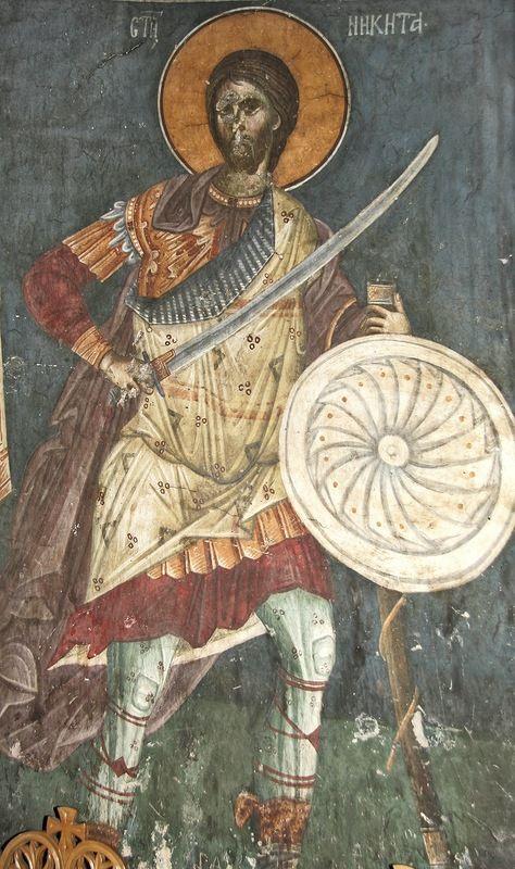Великомученик Никита Готфский Фрески монастыря Грачаница, Косово, Сербия. XIV век.