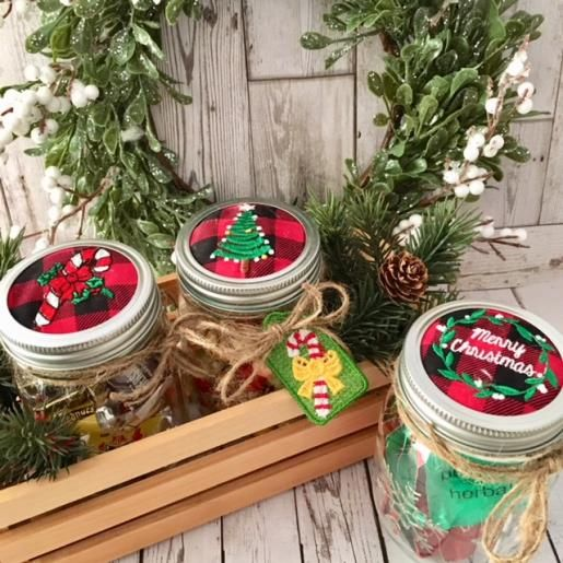 Holiday Mason Jar Lid Toppers Embroidery Project By Linda Mills Holiday Mason Jar Christmas Mason Jars Mason Jar Lids