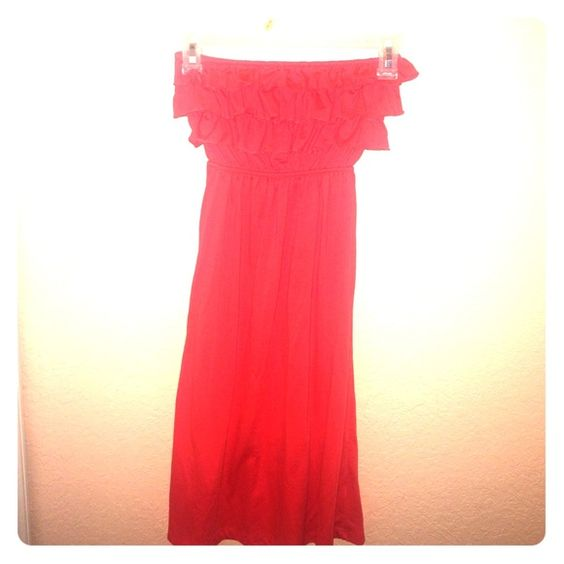 Strapless dress great for the beach  **SALE** Long red dress to your ankles and very comfortable. Great for the beach to throw on over your bikini  cristina love Dresses Strapless