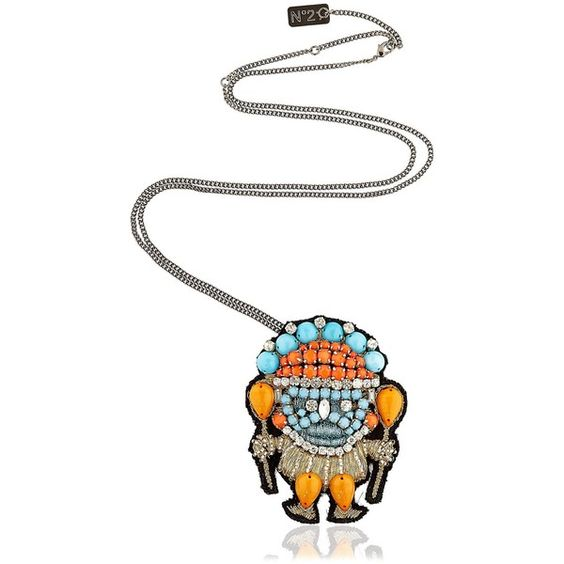 N°21 Women Embellished Tribal Man Pendant Necklace ($130) ❤ liked on Polyvore featuring jewelry, necklaces, silver, tribal pendant necklace, tribal jewelry, adjustable chain necklace, adjustable necklace and beaded jewelry