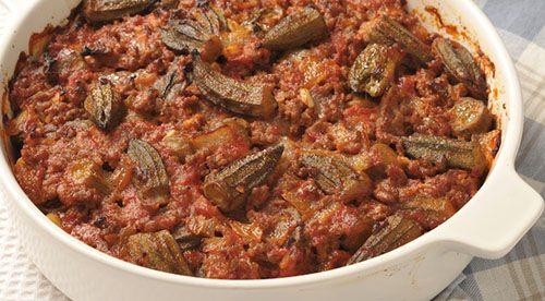 طريقة عمل صينية البامية باللحمة المفرومة في الفرن Egyptian Food Meat Recipes Recipes