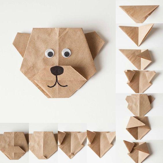 origami facile pliage de papier en forme dourson mignon