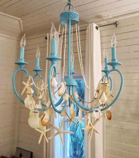 DIY Beach Chandelier Ideas. Summerize your chandelier with beach finds!