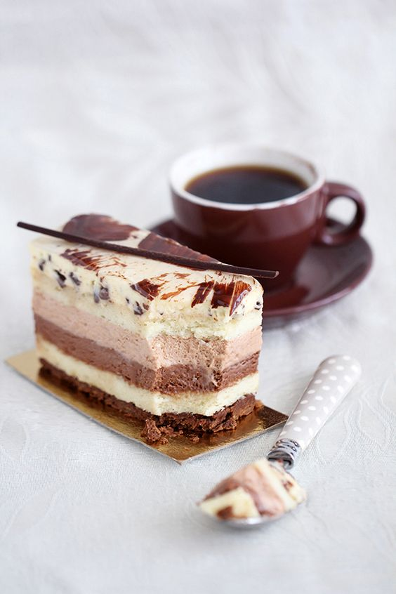 ... dark chocolate, milk chocolate, and white chocolate mousse dessert