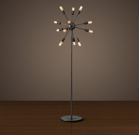 Sputnik Filament Floor Lamp - Aged Steel