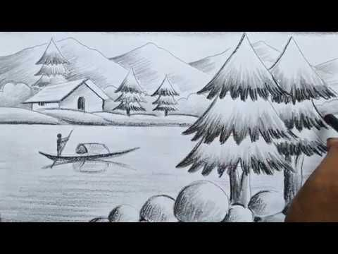 How To Draw Pencil Sketch Scenery Drawing For Kids Landscape Pahar And R Drawing Scenery Scenery Drawing For Kids Drawing For Kids