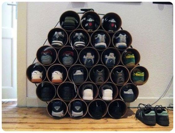 Estante para sapatos Faça você mesmo  Reciclando e Decorando!    Confira: http://www.comoeonde.com/reciclando-e-decorando-estantes-para-sapatos/