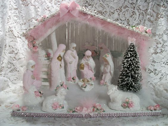 and more nativity sets nativity shabby chic shabby pink christmas chic ...