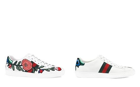 To cute!  Gucci New Ace Embroidered Lace Up Sneakers