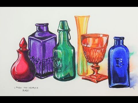 Painting Glass Bottles Using Less Than 50 A Tube Watercolor
