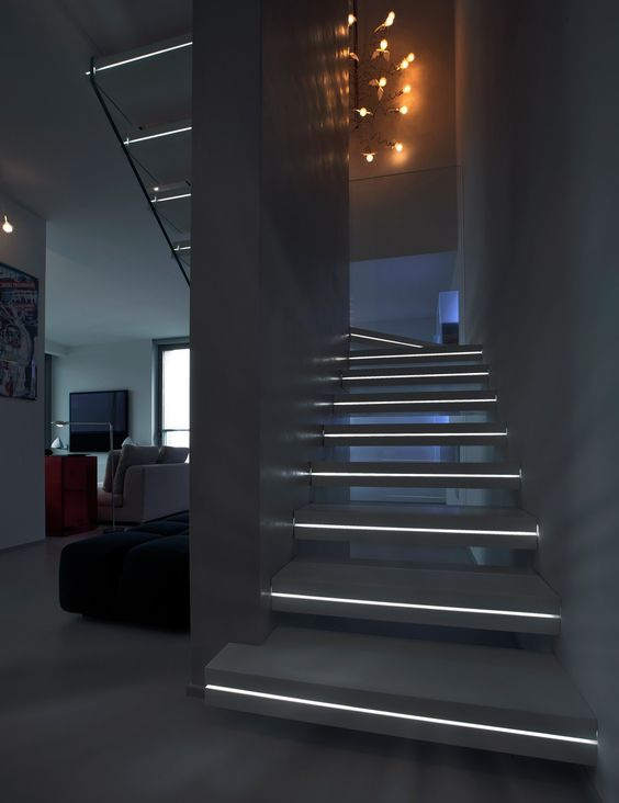 Corian hanging stairs luxo surfaces by officine sandrini - Luces para escalera ...
