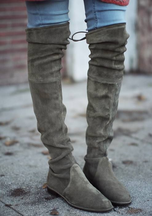 Stuart Weitzman Grey Suede 'lowland' Over-the-knee Boots by ...