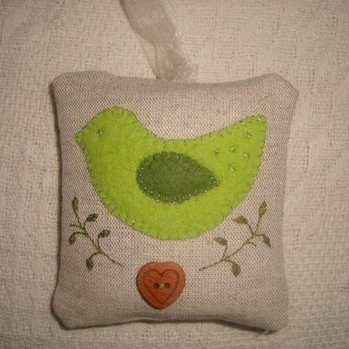 linen lavender bag with applique bird