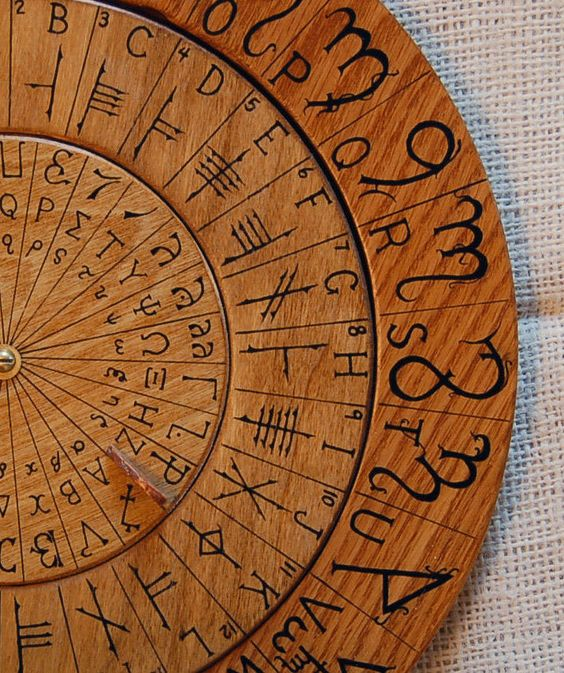Cypher Wheel Cipher Disk Wood with Theban, Ogham, Enochian, & Celtic Rune Scripts