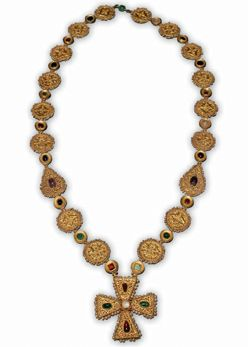 Byzantine Necklace with Cross Pendant  Byzantium, 6th to 7th century C.E.  Gold, Oriental pearls, emerald, sapphire, garnet, spinel, amethyst, colored glass  Private Collection