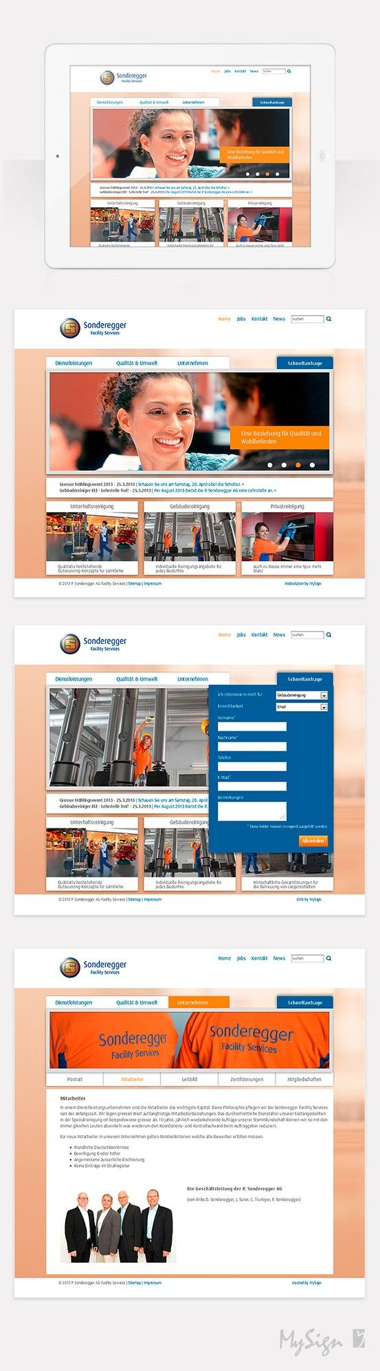 Hat den Frühlingsputz hinter sich: Die Oltner Reinigungsfirma P. Sonderegger AG präsentiert sich mit einem neuen Webauftritt. Ein klares und helles Design sowie authentische Fotos aus dem Betrieb vermitteln die Werte und Kompetenzen der Firma.