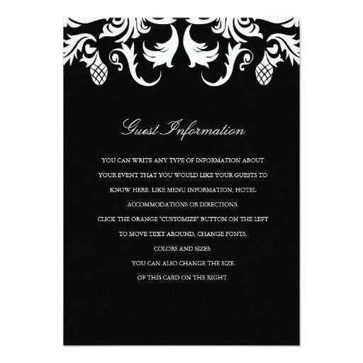Elegant Black Damask Wedding Insert Announcements