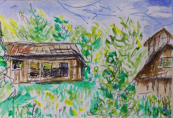 """Montpelier Barns, Watercolor on Paper, 4"""" x 6"""", 2005"""