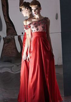 Sleeveless One Shoulder Chiffon Empire Floor Length A line Evening Gowns at Angelweddingdress