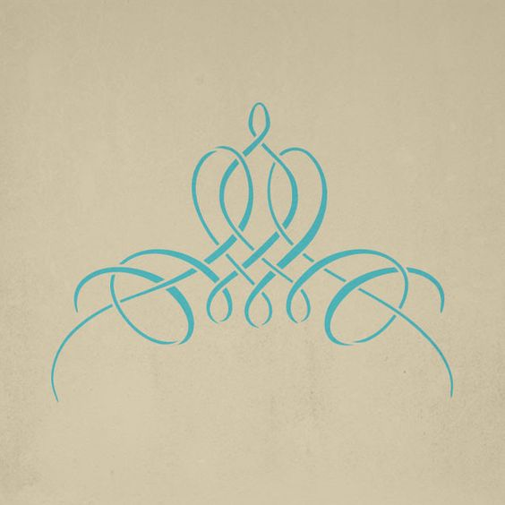 French calligraphy motif stencil: