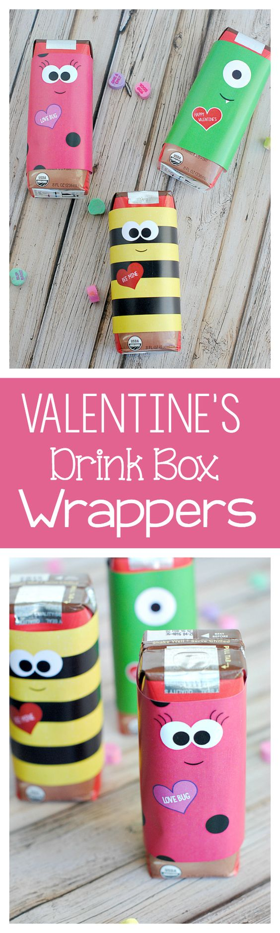 Cute Valentine's Day Party Drink Box Wrappers FREE PRINTABLES via Crazy Little Projects -Perfect for a party! Just print and wrap! #valentines #freeprintablevalentines #valentinesprintables #freevalentinesdaycards #valentinesdaypartyprintables #valentinesdayparty