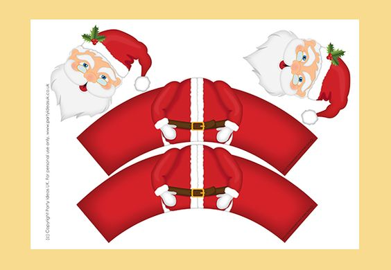 Christmas Templates Santa Cupcake Wrappers-YOU CAN PURCHASE