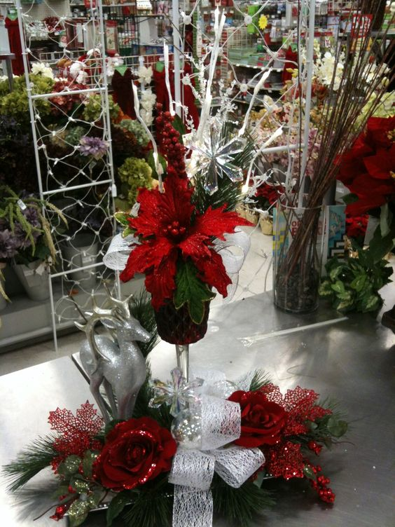 Lighted centerpieces red flowers and deer on pinterest