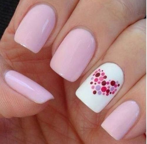 Pink with dotted love heart