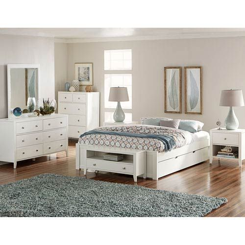 Pulse White Queen Platform Bed With Trundle With Images King