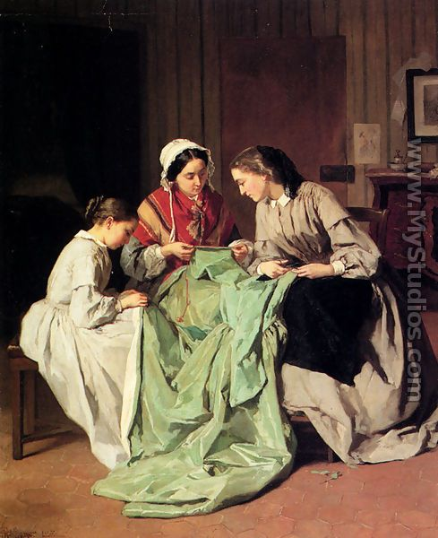 *LOL This is a familiar sight at our house - Mom and two daughters all frantically trying to finish a ball gown!     Jules Trayer, The Ball Gown*