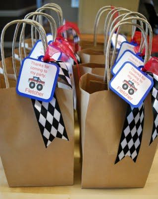 monster truck party favor bags: