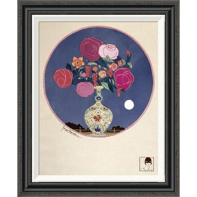 Global Gallery 'Arrangement of Various Flowers in Decorated Vase' by Georges Lepape Framed Painting Print Size: