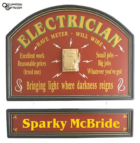 Pin By Jacob Callicoat On Electrician Gifts Electrician Gifts Electrician Custom Wood Signs
