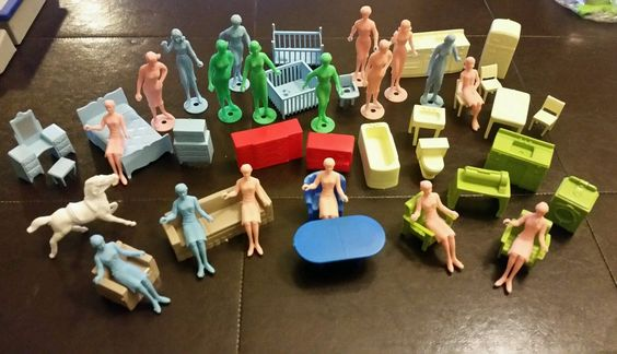 1960s Marx Doll House Soft Plastic Furniture and Women