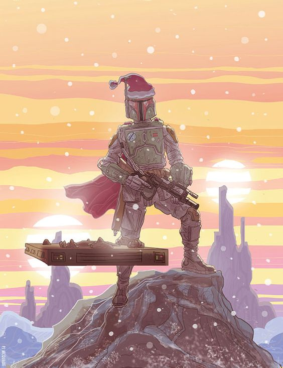 Boba Fett Star Wars Christmas Card. Fett the halls with slabs of carby.