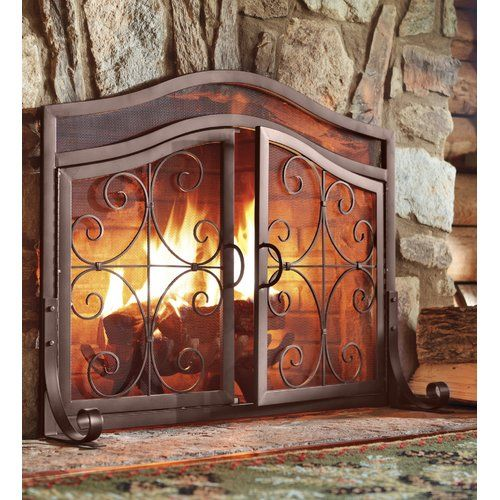 Rosalind Wheeler Joslyn Single Panel Iron Fireplace Screen In 2021 Fireplace Screens With Doors Fireplace Doors Fireplace Screens