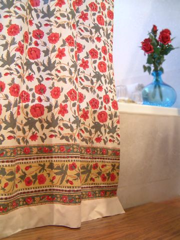 Roses In The Snow ~ Red White Floral Bohemian Shower Curtain   for ...