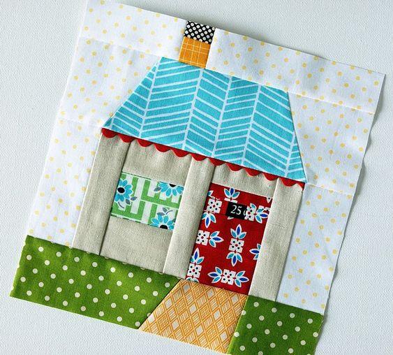 Paper pieced house by Retro_Mama, via Flickr.