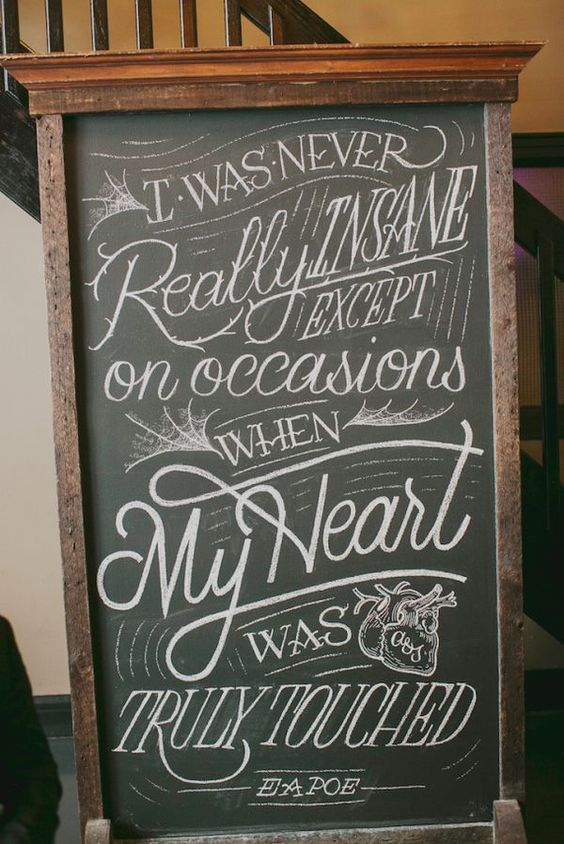 Edgar Allen Poe quote signage | 7 Times the Wedding World Nailed Halloween | Love Inc. Mag