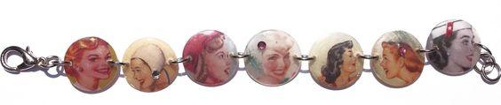 Vintage Face Bracelet. $40.00, via Etsy.