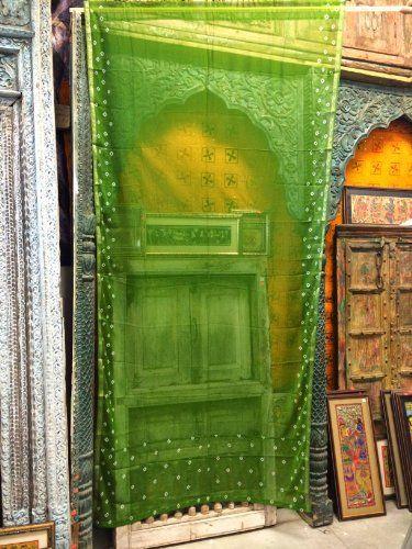 2 Organza Sheer Curtains Green Bandhani Print Indian Sari Curtain ...