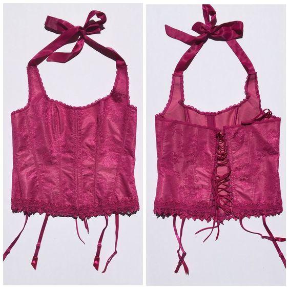 Frederick's of Hollywood Purple Lace Garters Corset Halter Lingerie Top Sz 40 | eBay