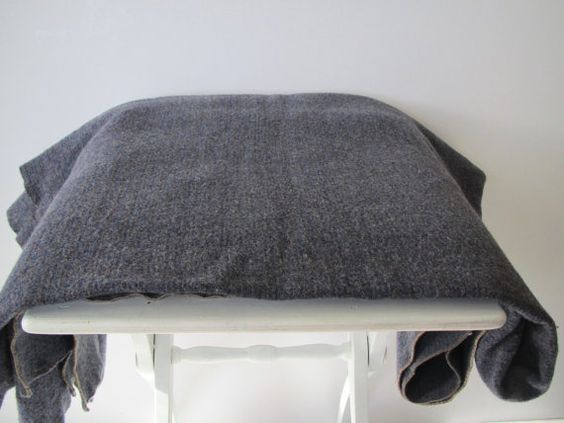 Vintage wool blanket/ dark gray/ throw/Amana by margosmuse on Etsy