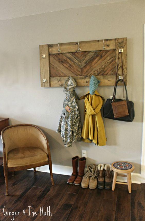Ginger & The Huth: DIY Chevron Wall Coat Rack -Using Scrap Wood-