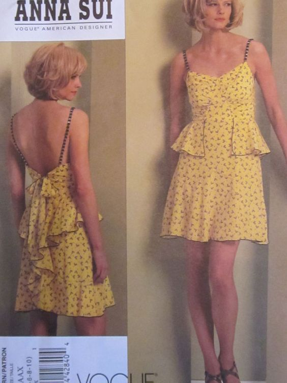 Vogue 1105 Misses' Dress Anna Sui Flounce Summer PATTERN Sizes 4-6-8-10 UNCUT #Vogue #StrapsMakefromSheerFabricShortLength