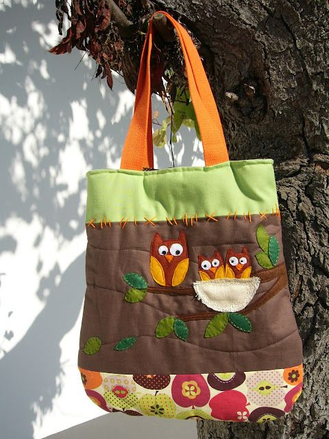 """""""Autum owls"""": Fabric bag with lining and interior pocket"""