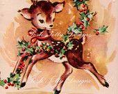Vintage Hallmark 1950s Deer Christmas Greetings Card (B3). $3.00, via Etsy.