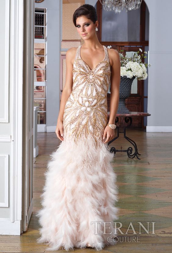 Beaded Beauty V-Neckline Beaded Long Gown from Terani Couture