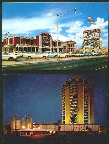 LAS VEGAS CASINOS POST CARDS: Lot of 17 different out of print post cards, average Ex/M condition, all color, all unused, all from the late 1960s. Includes shots of famous hotel casinos no longer standing like the imploded Sands, Landmark and Thunderbird, Fremont Street with The Mint and the Golden Nugget long before it was covered and other slices of Vegas in the swinging sixties. All 17 cards for $39