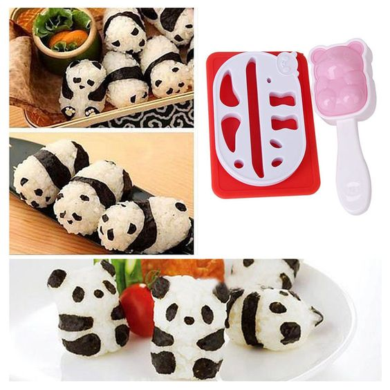Lovely Panda Shape Punch Sushi Rice Ball Mold Onigiri Mould Nori Diy Maker Bento